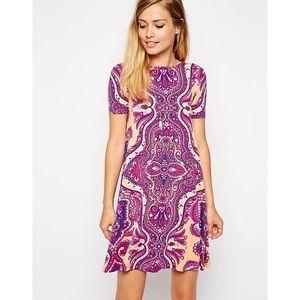 ASOS Petites Paisley Swing Dress Purple Orange